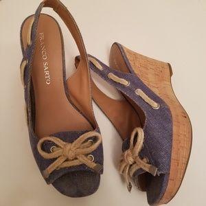 Franco Sarto Cliff Cork Wedge Canvas Sandal